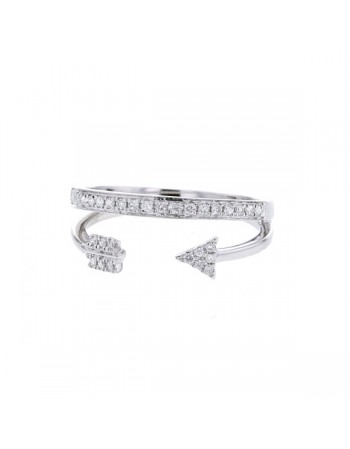 Double ring pave set diamonds in 9 K gold