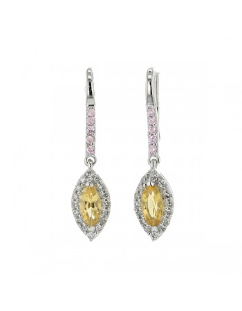 Navette cut citrine and pink quartz and diamonds earrings in 9 K gold