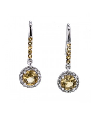 Round cut citrine and diamonds earrings in 9 K gold