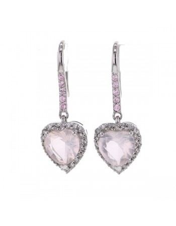 Heart cut pink quartz and diamonds earrings in 9 K gold