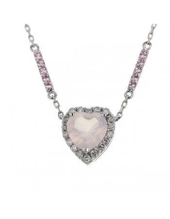 Collier cœur en quartz rose et diamants en or blanc