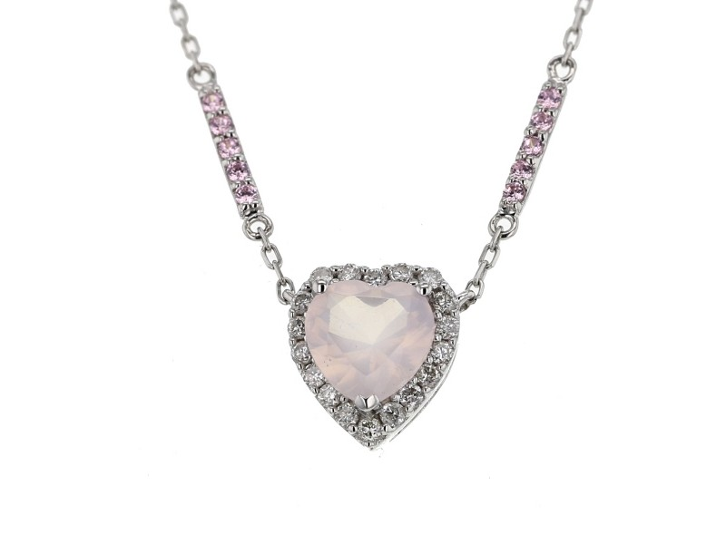 Heart cut pink quartz and diamonds necklace in 9 K gold