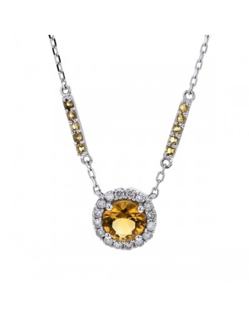Round cut citrine and diamonds necklace in 9 K gold
