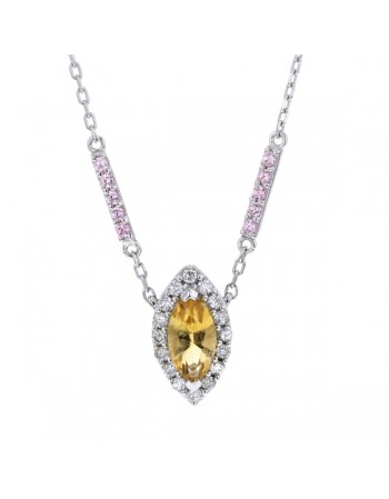 Navette cut citrine and pink quartz and diamonds necklace in 9 K gold