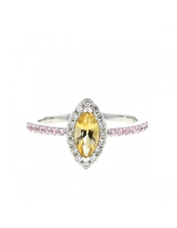 Bague citrine et quartz rose et diamants en or blanc