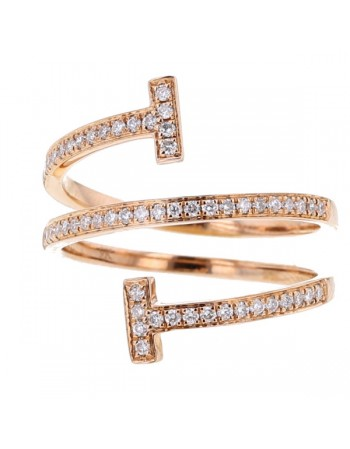 Twist cross ring pave set diamonds in 9 K gold