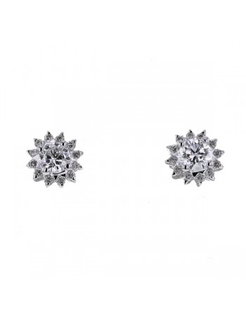 Boucles d'oreilles diamants et or blanc en or blanc