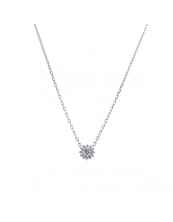 Diamond halo solitaire diamond pendant on chain in 9 K gold