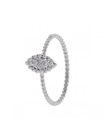 Milgrain navette shaped pave set ring in 9 K gold