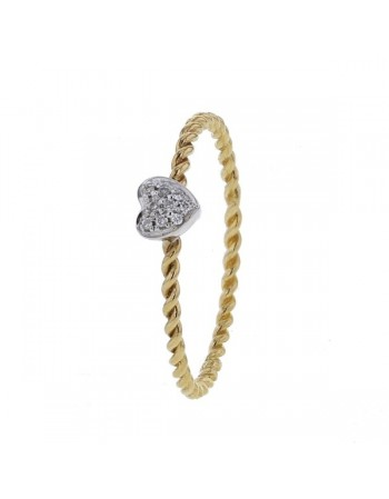 Rope-like ring with small pave set heart in 9 K gold