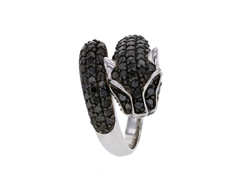 Pave set panther ring in silver