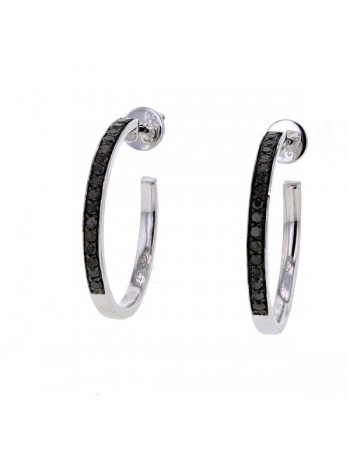 Black diamond set hoops in silver 925/1000