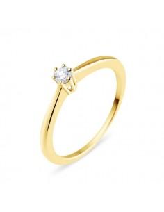 Solitaire simple classique diamant monté six griffes en or jaune