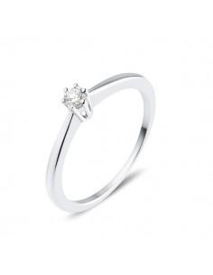 Solitaire simple classique diamant monté six griffes en or blanc