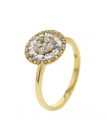 CNC set diamond disc shape ring in 18 K gold