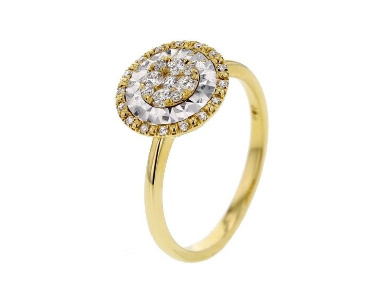 Bague rond diamants sertis cnc en or jaune