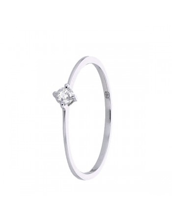Slender solitaire diamond ring in 9 K gold