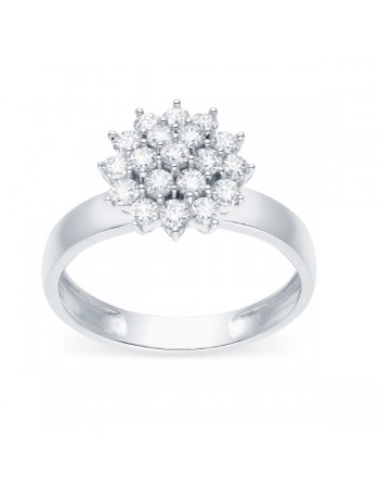 Bague chou diamants sertis griffes en or blanc