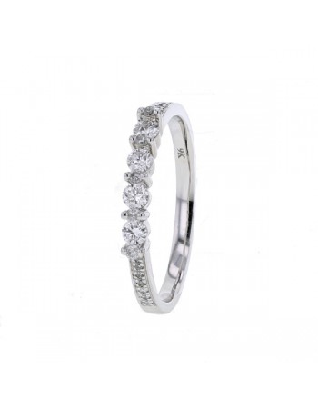 Slender wedding multi-stone diamond ring in 9 K gold