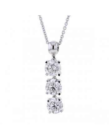 Three stone diamond necklace in 18 K gold