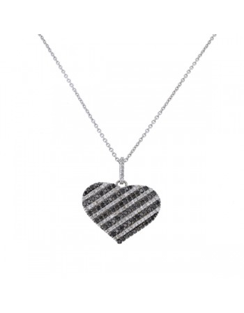 All pave set black and white diamonds pave set pendant in 9 K gold