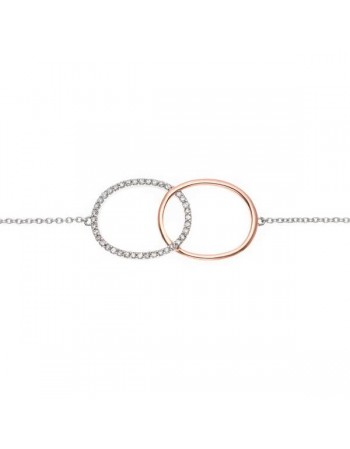 Bracelet two-colour oval shapes with diamonds in 9 K gold