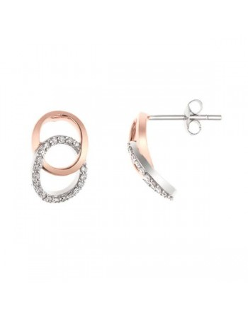 Boucles d'oreilles deux ronds diamants en or blanc