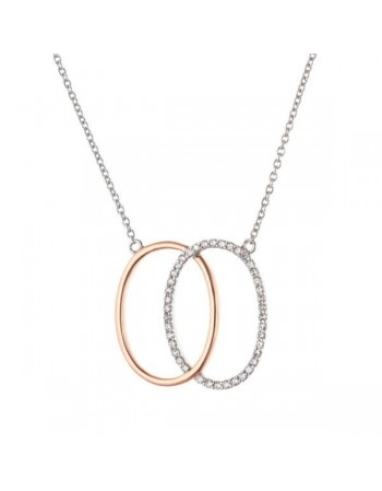 Two-colour pave set necklace in 9 K gold