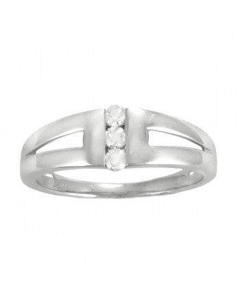 Bague trilogie de diamants en or blanc
