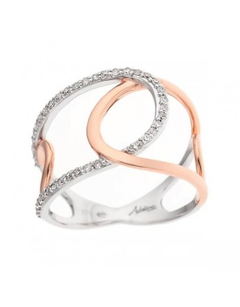 Ovale shapes pave set two colour ring in 9 K gold