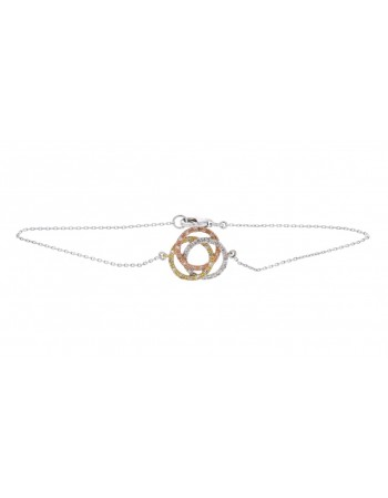 Tri-colour Infinity shape pave set with diamond bracelet in 9 K gold