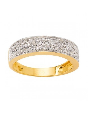 Pave set diamond ring in 18 K gold
