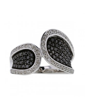 Pave set black and white diamonds ring in silver 925/1000