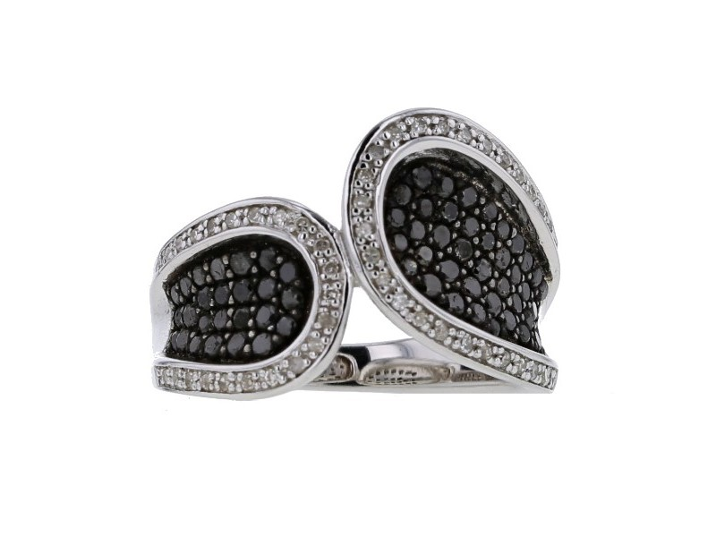 Pave set black and white diamonds ring in silver