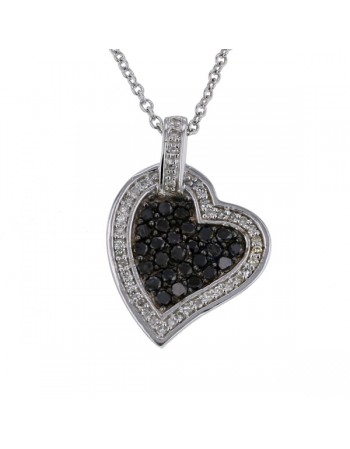 Black and white diamonds heart pendant in silver
