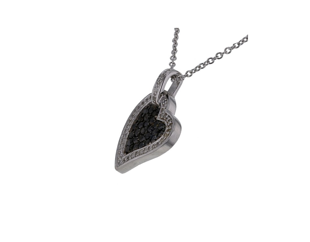 pendentif argent et diamant pendentif coeur diamants noirs. Black Bedroom Furniture Sets. Home Design Ideas