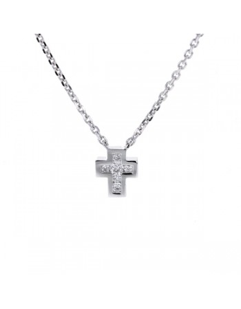 Small diamond cross necklet in 9 K gold
