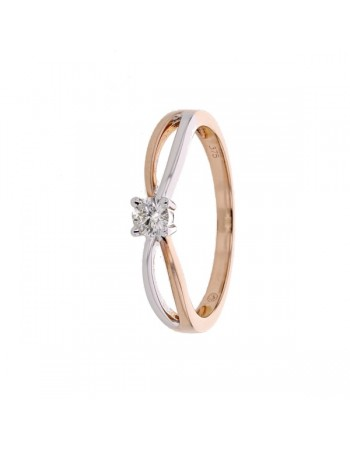 Crossover diamond solitaire ring two-colour in 9 K gold