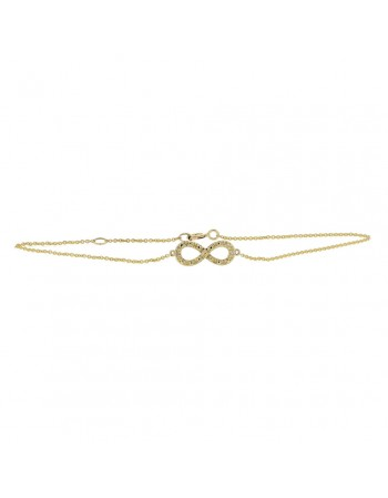Infinity shape bracelet with 2 diamonds in 9 K gold