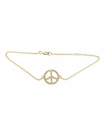 "Bracelet chaîne ""peace and love"" diamants en or jaune"