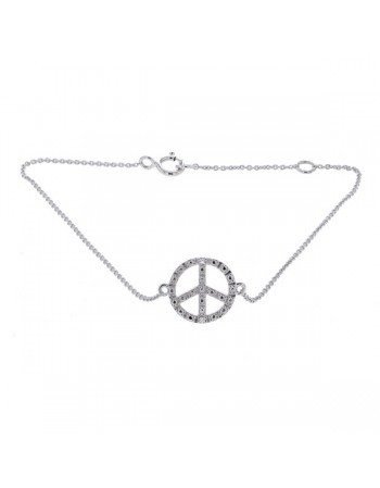 Peace sign shape bracelet with 2 diamonds in 9 K gold