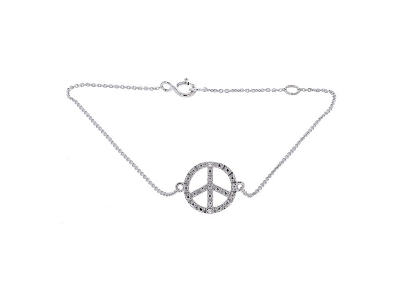 "Bracelet chaîne ""peace and love"" diamants en or blanc"