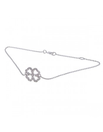 Four clover leaf sign shape bracelet with 2 diamonds in 9 K gold