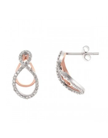Boucles d'oreilles bicolore pavées de diamants en or blanc