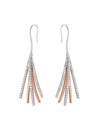 Two colour pave set diamond earrings in 9 K gold