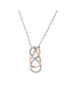 Collier bicolore boucles avec des pavés diamants en or blanc