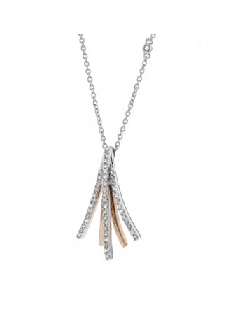 Collier bicolore plume avec des pavés diamants en or blanc