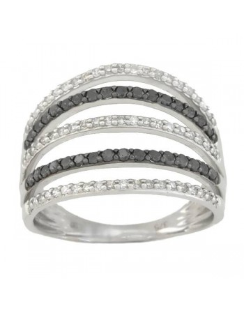 Black and white pave set diamond ring in 9 K gold