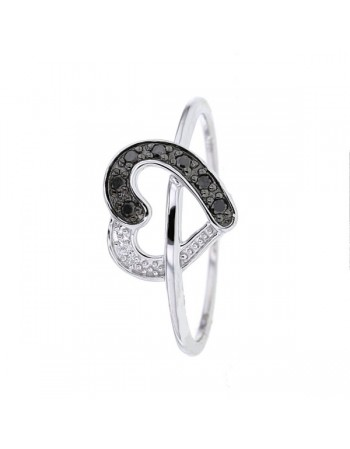 Bague coeur diamants noirs en or blanc