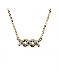 Three stone diamond necklace in 18 K gold